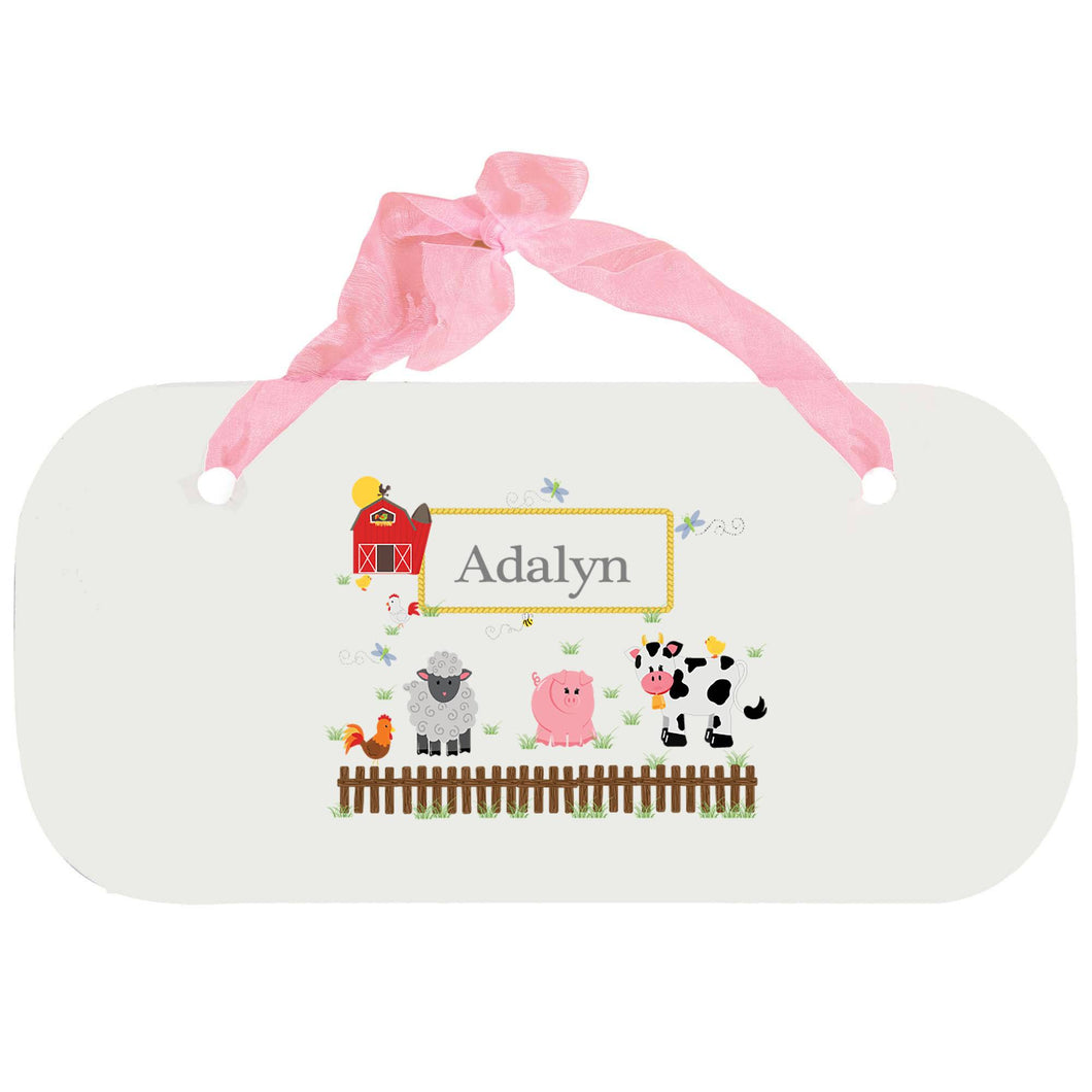 Personalized Girls Wall Plaque with Barnyard Friends design
