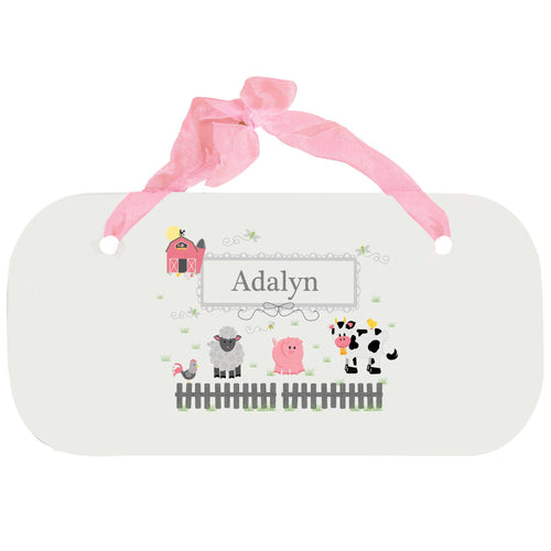 Personalized Girls Wall Plaque with Barnyard Friends Pastel design