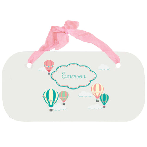 Personalized Girls Wall Plaque with Hot Air Balloon design