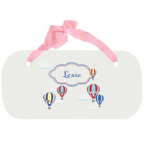 Personalized Girls Wall Plaque with Hot Air Balloon Primary design
