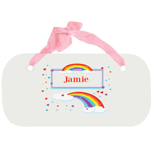 Personalized Girls Wall Plaque with Rainbow design