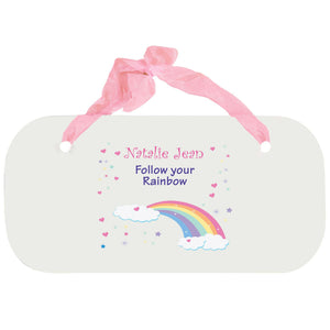 Personalized Girls Wall Plaque - Rainbow Pastel