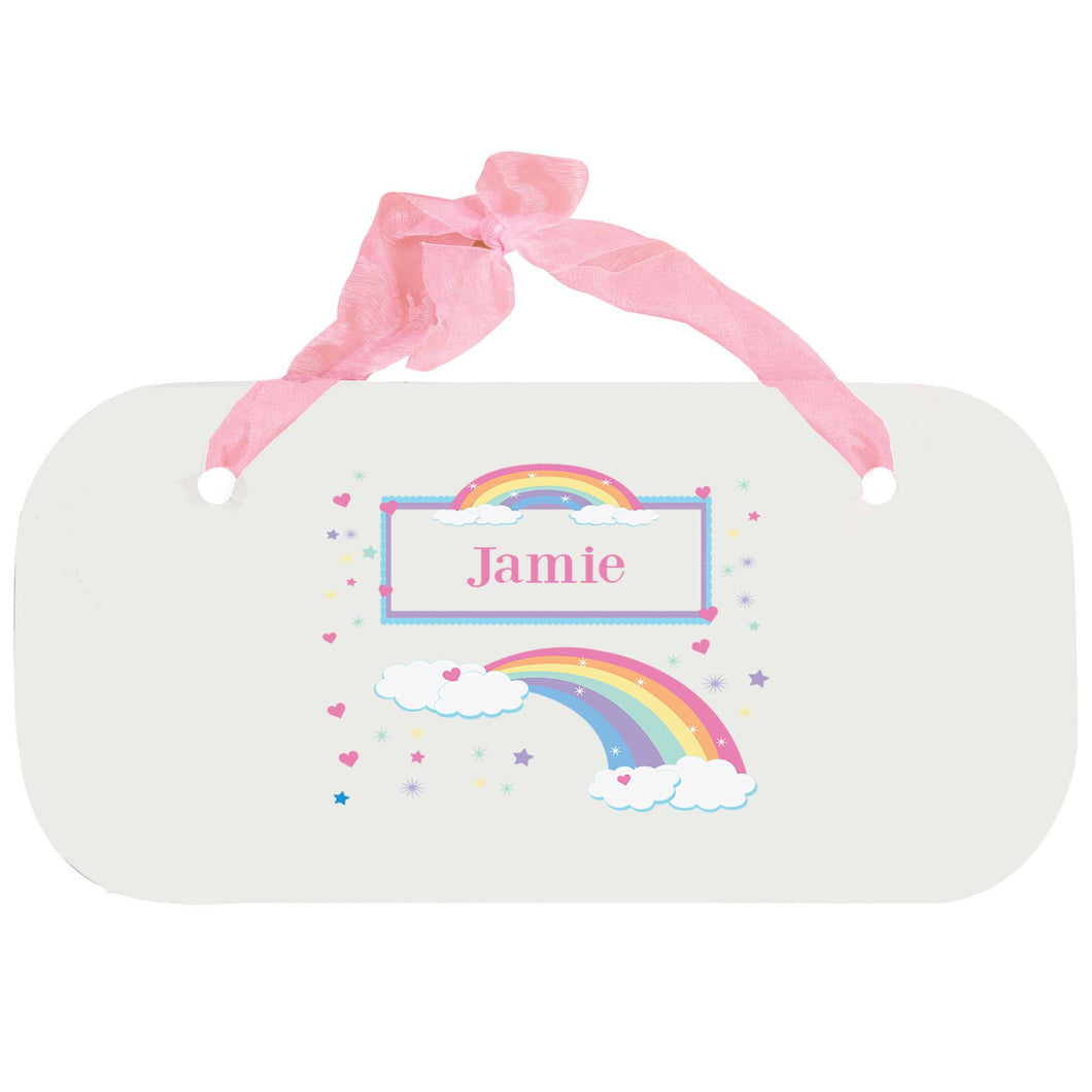 Personalized Girls Wall Plaque with Rainbow Pastel design