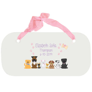 Personalized Girls Wall Plaque - Pink Dog