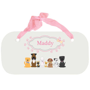 Personalized Girls Wall Plaque with Pink Dog design