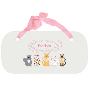 Personalized Girls Wall Plaque with Pink Cats design