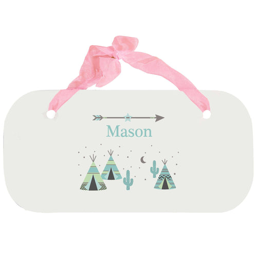Personalized Girls Wall Plaque with Teepee Aqua Mint design