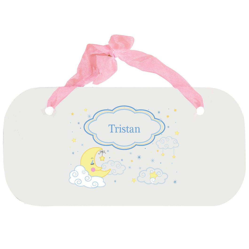 Personalized Girls Wall Plaque with Moon and Stars design