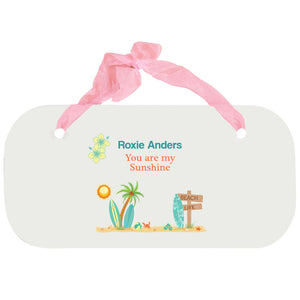 Personalized Girls Wall Plaque - Surfs Up