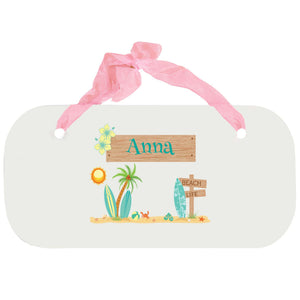 Personalized Girls Wall Plaque with Surf'S Up design