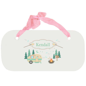 Personalized Girls Wall Plaque with Camp Smores design