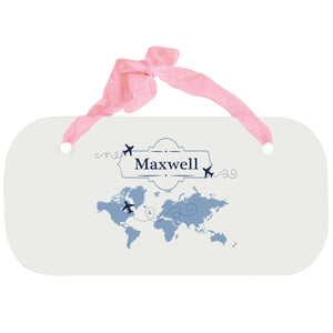 Personalized Girls Wall Plaque with World Map Blue design