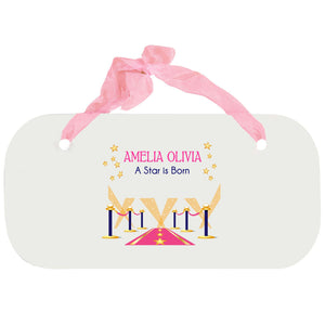 Personalized Girls Wall Plaque - A Star Is Born Pink