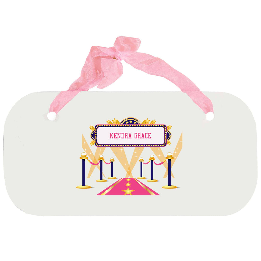 Personalized Girls Wall Plaque with A Star Is Born Pink design