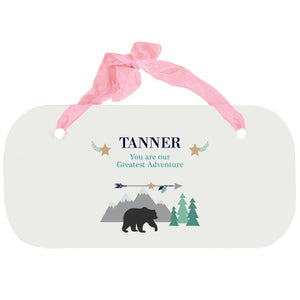 Personalized Girls Wall Plaque - Mountain Bear