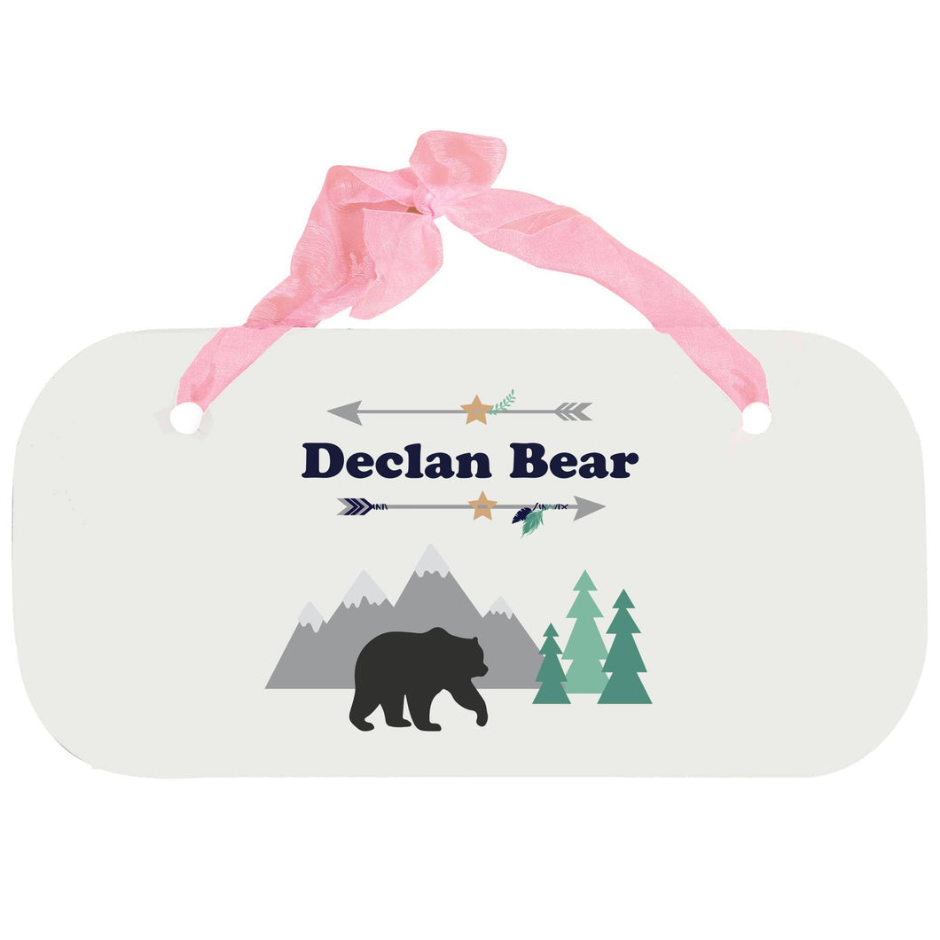 Personalized Girls Wall Plaque with Mountain Bear design