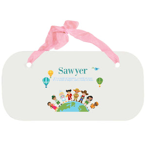 Personalized Girls Wall Plaque - Small World