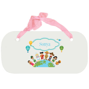 Personalized Girls Wall Plaque with Small World design