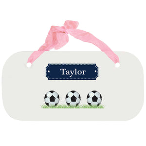 Personalized Girls Wall Plaque with Soccer Balls design
