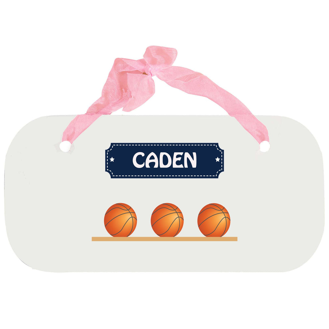 Personalized Girls Wall Plaque with Basketballs design