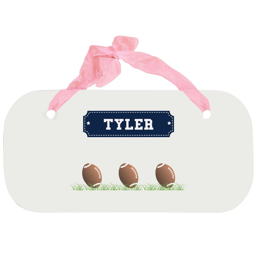 Personalized Girls Wall Plaque with Footballs design