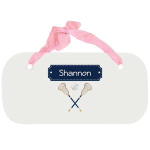 Personalized Girls Wall Plaque with Lacrosse Sticks design