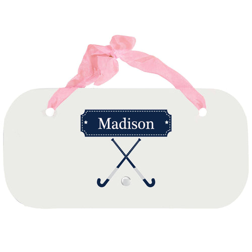Personalized Girls Wall Plaque with Field Hockey design