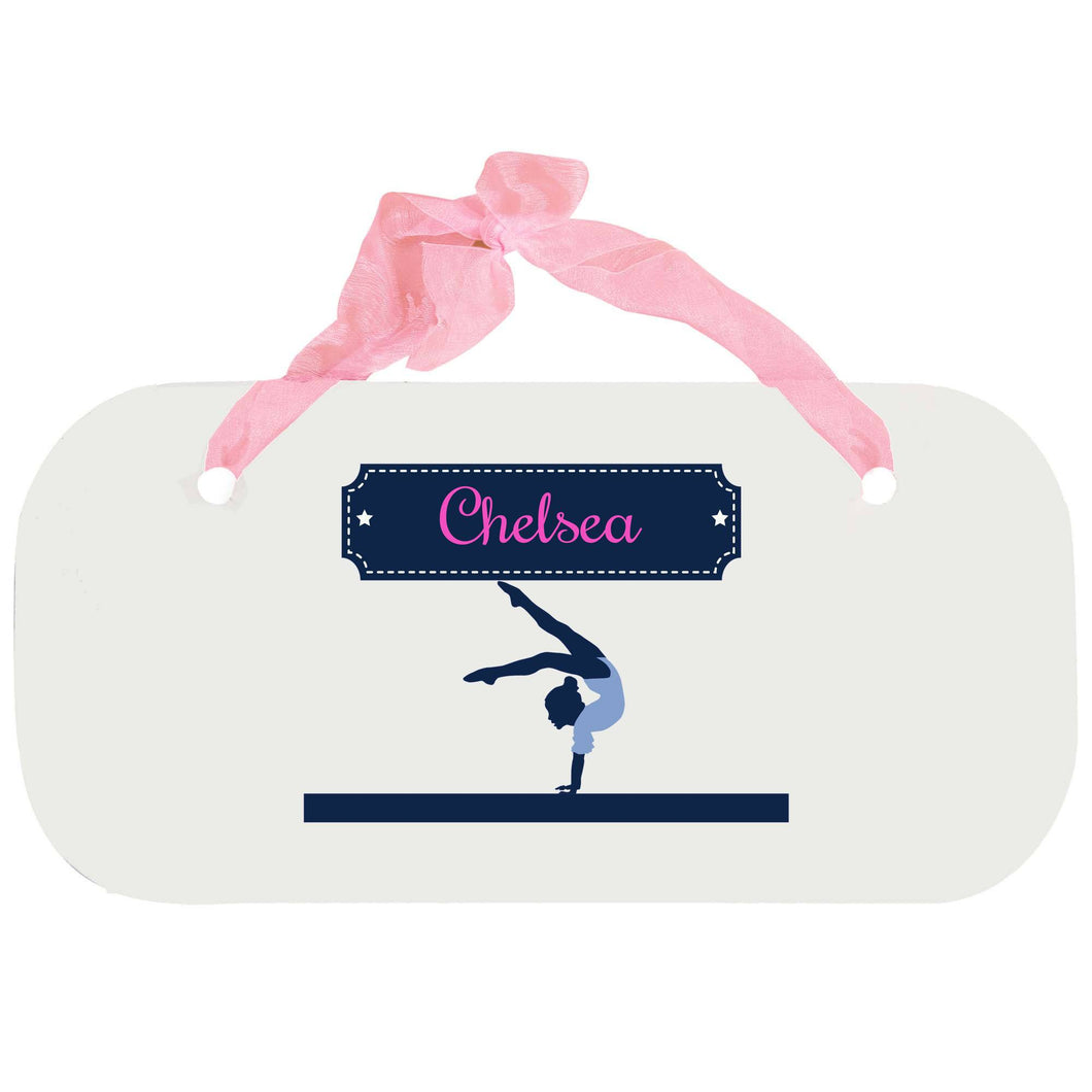 Personalized Girls Wall Plaque with Gymnastics design