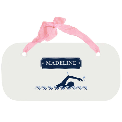 Personalized Girls Wall Plaque with Swim design