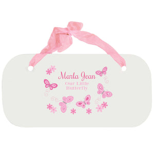 Personalized Girls Wall Plaque - Butterflies Pink