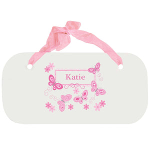 Personalized Girls Wall Plaque with Butterflies Pink design
