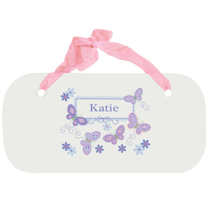 Personalized Girls Wall Plaque with Butterflies Lavender design