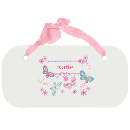 Personalized Girls Wall Plaque with Butterflies Aqua Pink design