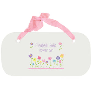 Personalized Girls Wall Plaque - Stemmed Flowers
