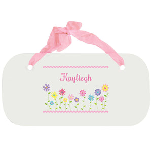 Personalized Girls Wall Plaque with Stemmed Flowers design