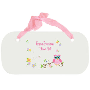 Personalized Girls Wall Plaque - Pink Owl