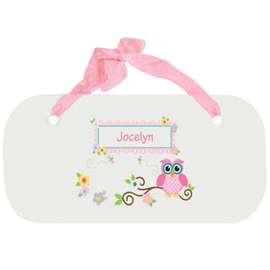 Personalized Girls Wall Plaque with Pink Owl design