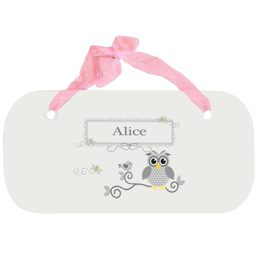 Personalized Girls Wall Plaque with Gray Owl design
