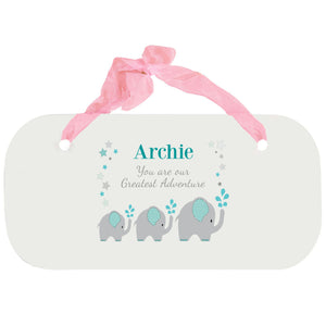 Personalized Girls Wall Plaque - Grey and Teal Elephant