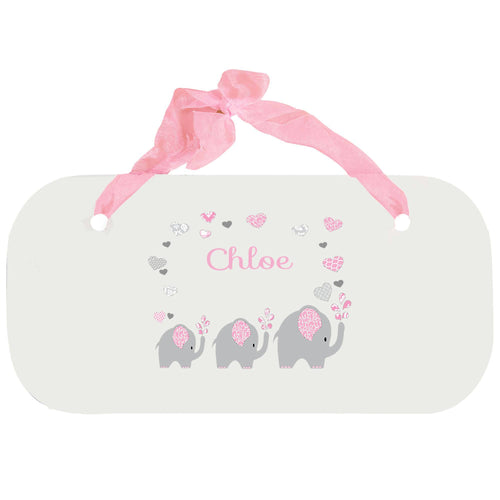 Personalized Girls Wall Plaque with Pink Elephant design