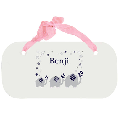 Personalized Girls Wall Plaque with Navy Elephant design