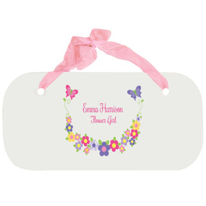 Personalized Girls Wall Plaque - Bright Butterflies Garland