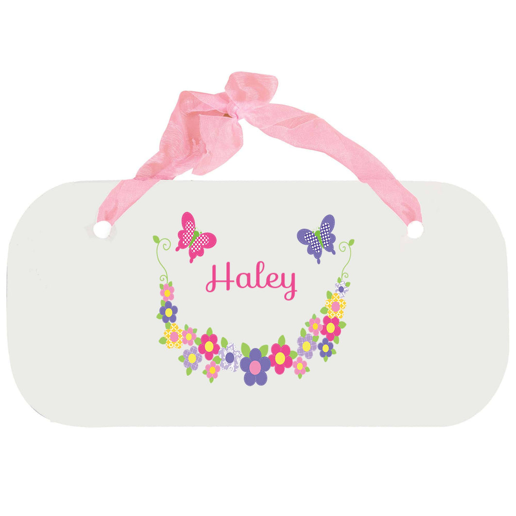 Personalized Girls Wall Plaque with Bright Butterflies Garland design