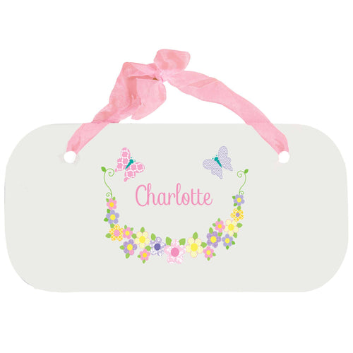 Personalized Girls Wall Plaque with Pastel Butterflies design