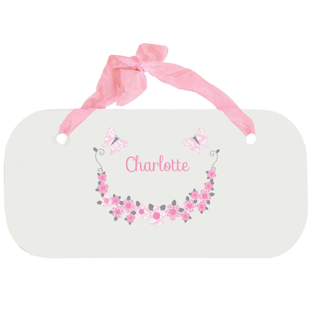 Personalized Girls Wall Plaque with Pink and Gray Butterflies design