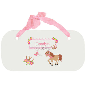Personalized Girls Wall Plaque with Ponies Prancing design