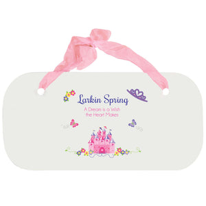 Personalized Girls Wall Plaque - Princess Castle