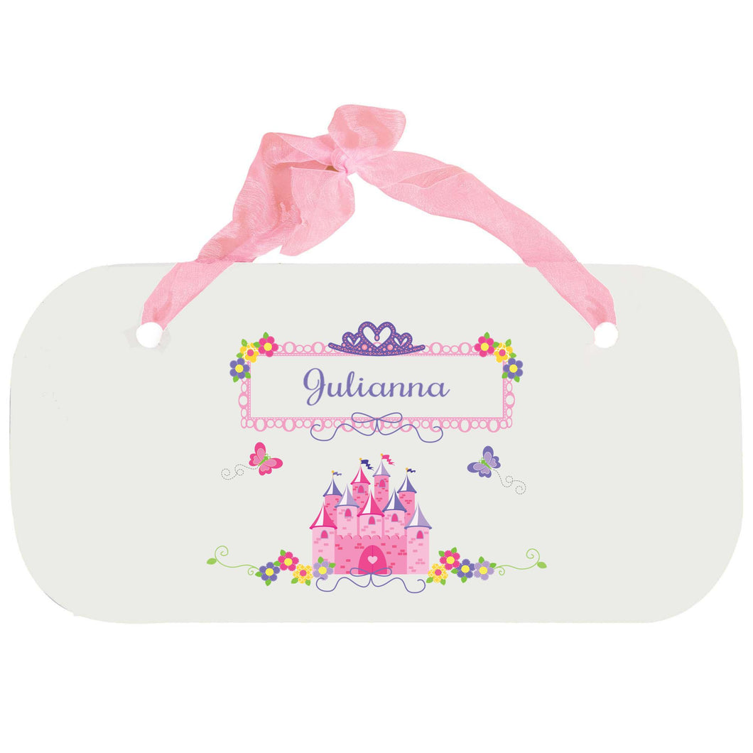Personalized Girls Wall Plaque with Princess Castle design