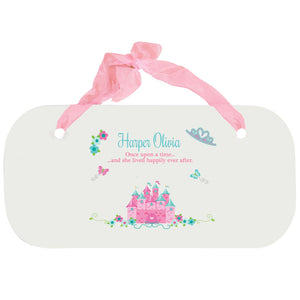 Personalized Girls Wall Plaque - Pink Teal Princess Castle