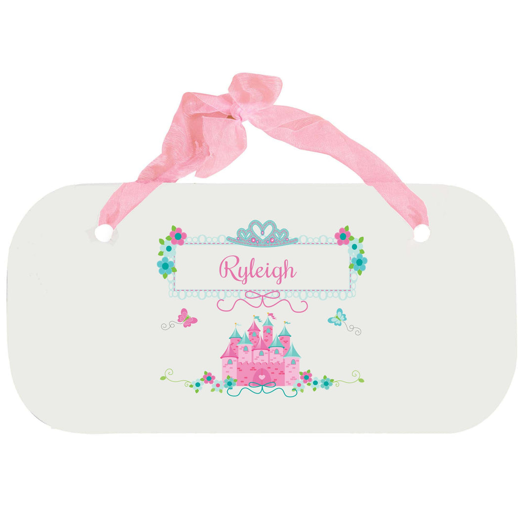Personalized Girls Wall Plaque with Pink Teal Princess Castle design